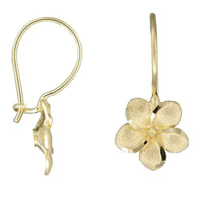 14kt Yellow Gold Hawaiian Plumeria Wire Level Earrings