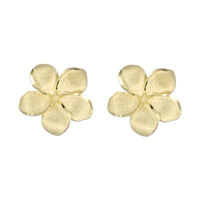 14kt Yellow Gold 15mm Plumeria Pierced Earrings
