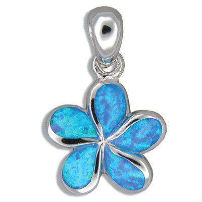 Sterling Silver Hawaiian 15MM Plumeria Blue Opal Pendant