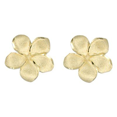 14kt Yellow Gold 18mm Plumeria Pierced Earrings