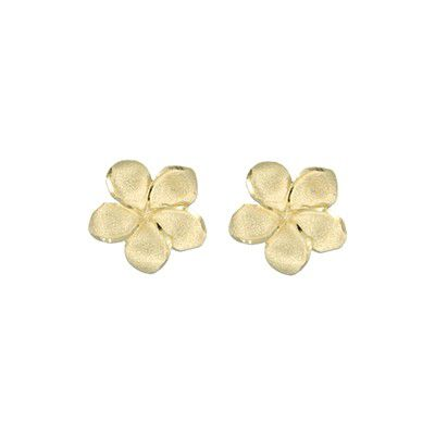 14kt Yellow Gold 12mm Plumeria Pierced Earrings