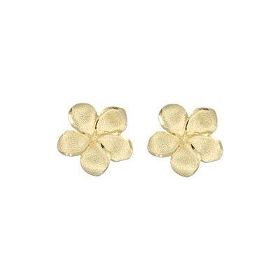 14kt Yellow Gold 12mm Plumeria Pierced Stud Earrings