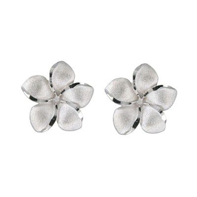 14kt White Gold 15mm Plumeria Pierced Earrings