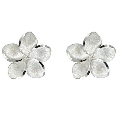 14kt White Gold 18mm Plumeria Pierced Earrings