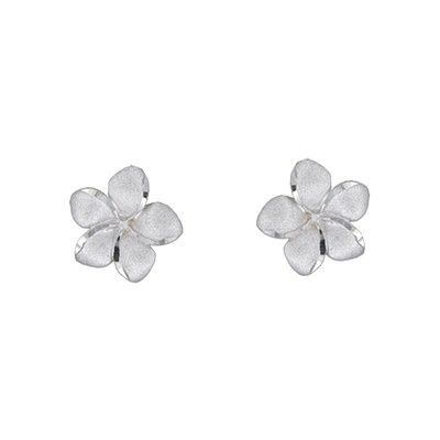14kt White Gold 12mm Plumeria Pierced Earrings