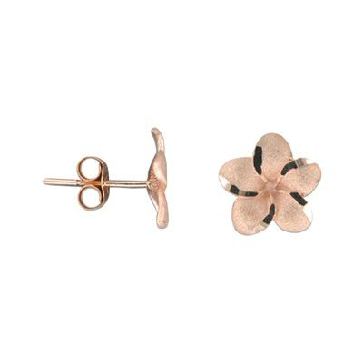 14kt Rose Gold 12mm Plumeria Pierced Earrings