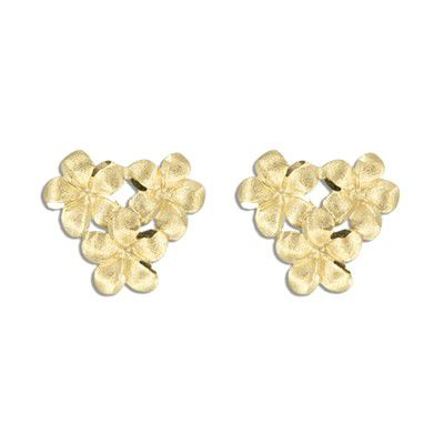 14KT Yellow Gold 8mm Plumeria Blossoms Pierced Earrings