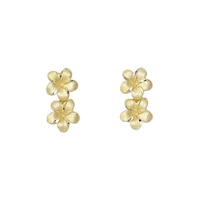 14kt Yellow Gold 7mm Double Plumeria Earrings