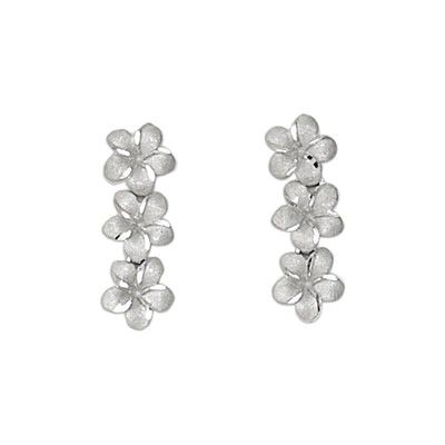 14kt White Gold 7mm Triple Plumeria Pierced Earrings