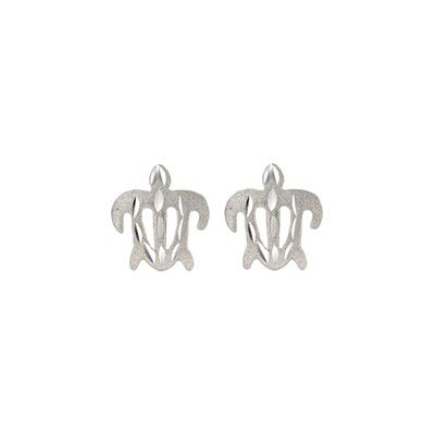 14kt White Gold 10mm Hawaiian Honu (Turtle) Pierced Earrings