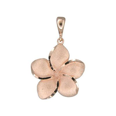 14kt Rose Gold Hawaiian Plumeria 18mm Pendant