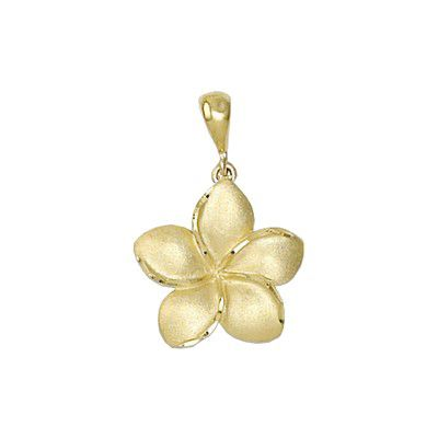 14kt Yellow Gold Hawaiian Plumeria 15mm Pendant