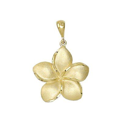 14kt Yellow Gold Hawaiian Plumeria 18mm Pendant