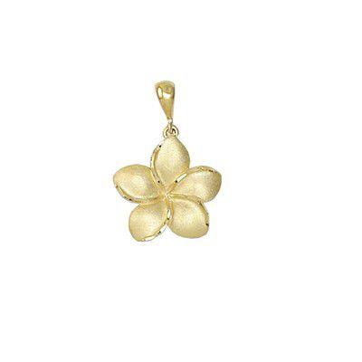 14kt Yellow Gold Hawaiian Plumeria 10mm Pendant