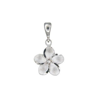 14kt White Gold Hawaiian Plumeria 12mm Pendant