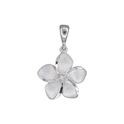 14kt White Gold Hawaiian Plumeria 15mm Pendant
