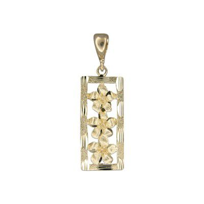 14kt Yellow Gold Plumeria Vertical Pendant