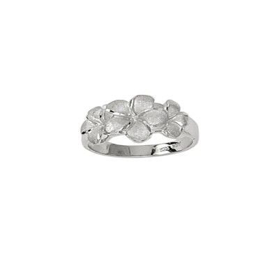 14kt White Gold Three Plumeria Flowers Ring