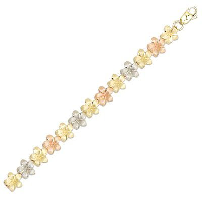 14kt Tri-Color Gold Hawaiian 7mm Plumeria Anklet