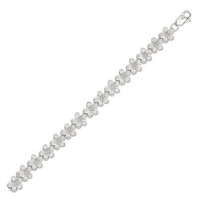 14kt White Gold Hawaiian 7mm Plumeria Anklet