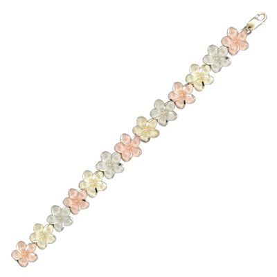 14kt Tri-Color Gold Hawaiian 12mm Plumeria Bracelet