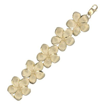14kt Yellow Gold Hawaiian 18mm Plumeria Bracelet