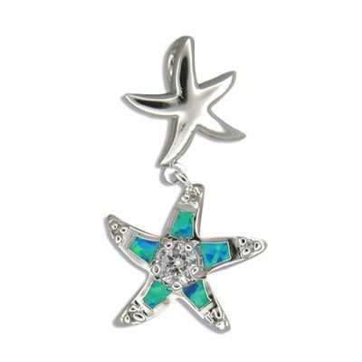 Sterling Silver Blue Opal Starfish Floating Pendant with CZ