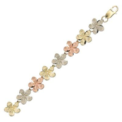 14kt Tri-Color Solid Gold Hawaiian 10mm Plumeria Bracelet