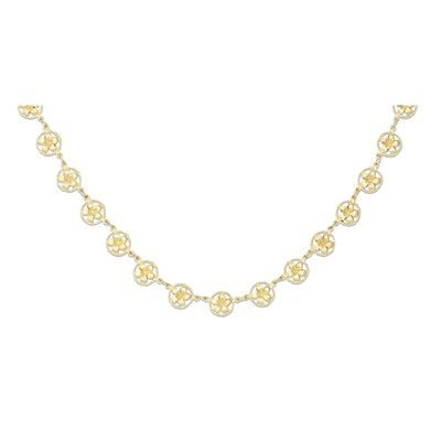 14kt Yellow Gold 8mm Plumeria in Circle Necklace