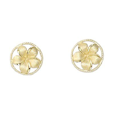 14kt Yellow Gold 10mm Plumeria in Circle Earrings