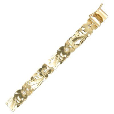 14kt Yellow Gold Hawaiian Fancy Plumeria Scroll Bracelet