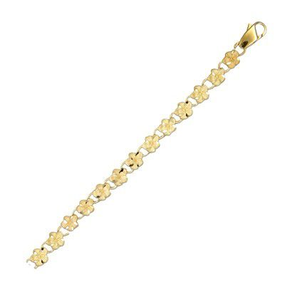 14kt Yellow Gold 5mm Plumeria Leis Link Bracelet