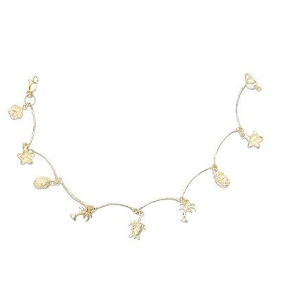 14kt Yellow Gold Hawaiian Mixed Charms Anklet