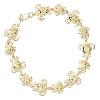 14kt Yellow Gold Hawaiian Mother and Baby HONU Bracelet