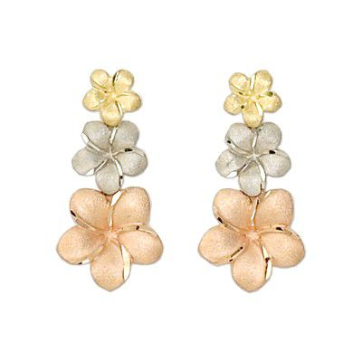 14kt Tri-Color Gold Triple Hawaiian Plumeria Dangling Earrings