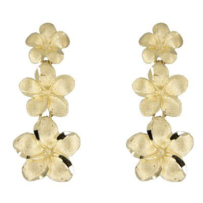 14kt Yellow Gold Triple Hawaiian Plumeria Dangling Earrings