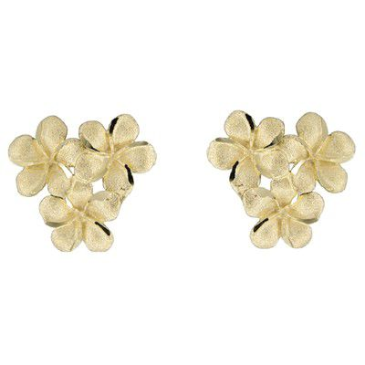 14kt Yellow Gold 10mm Plumeria Blossoms Pierced Earrings