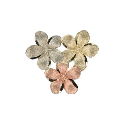 14kt Tri-color Gold Hawaiian 12MM Plumeria Blossom Slide Pendant