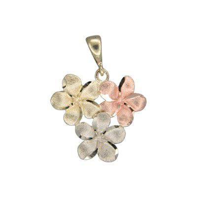 14kt Tri-color Gold Hawaiian 10MM Plumeria Blossom Pendant