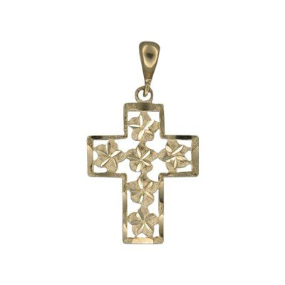 14kt Yellow Gold Hawaiian Plumeria with Outline Cross Pendant