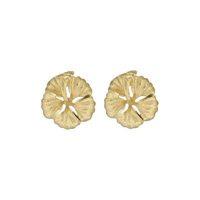 14kt Yellow Gold 12mm Hawaiian Hibiscus Pierced Earrings