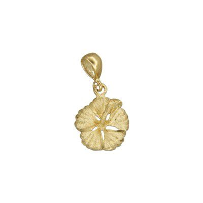 14kt Yellow Gold 12mm Hawaiian Hibiscus Pendant