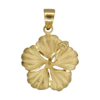 14kt Yellow Gold 22mm Hawaiian Hibiscus Pendant