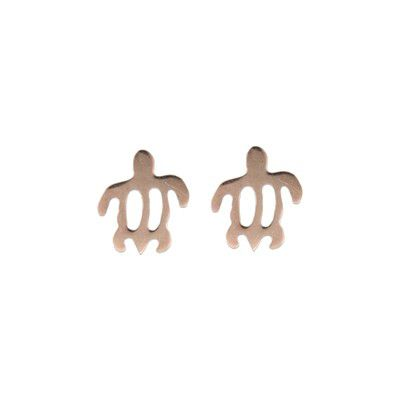 14kt Rose Gold Cut-Out Hawaiian Turtle (HONU) Pierced Earrings