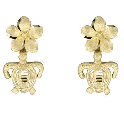 14kt Yellow Gold 10mm Hawaiian Plumeria and HONU Earrings