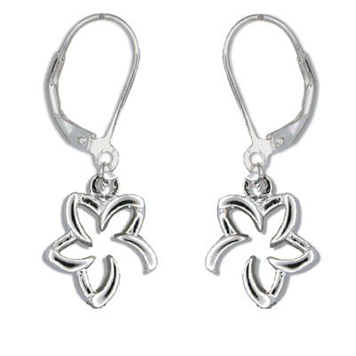 Sterling Silver Tiffany Style Open Hawaiian Plumeria with Lever Back Earrings