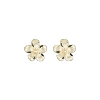 14kt Yellow Gold 10mm Plumeria Earrings Jacket
