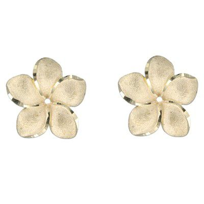 14kt Yellow Gold 18mm Plumeria Earrings Jacket