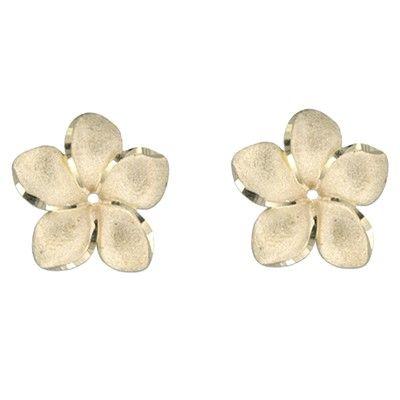 14kt Yellow Gold 18mm Plumeria Earrings Jacket