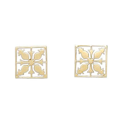 14kt Yellow Gold Cut-Out Hawaiian Pineapple Quilt Pierced Earrings